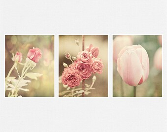 Pink Flowers Picture Set, Pink Prints or Canvas Art Set, Pink Nursery Decor, Pink Bathroom Decor, Roses, Tulips, Soft Pink Home Decor.