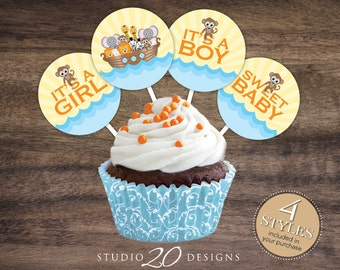 "Instant Download 2"" Noah's Ark Cupcake Toppers, Noahs Ark Baby Shower Cupcake Toppers, Religious Toppers, Noahs Ark Gift Tags 63A"