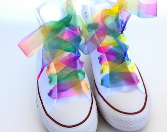 "Rainbow Organza Ribbon 1"" Shoelaces Pair Rainbow Shoelaces Ribbon Shoelaces Organza Shoelaces"