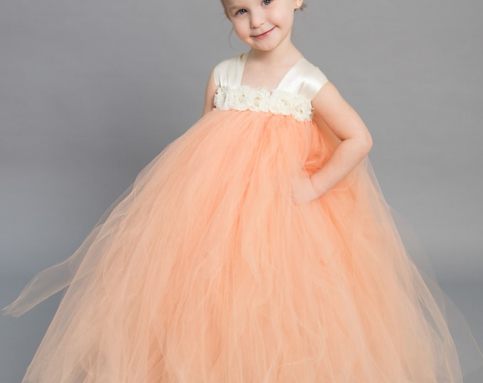 Featured listing image: Flower girl dress - Tulle flower girl dress - Ivory Dress - Tulle dress-Infant/Toddler - Pageant dress - Princess dress -Peach  flower dress