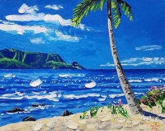 Beach art, oil painting, tropical decor, modern art, seascape painting, tropical, palette knife painting, wall decor, Ryan Kimba
