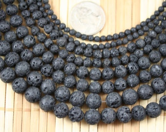 Natural Lava Rock Gem Stone 4/6/8/10/12mm Round Beads Strand, 15.5-inch Strand HV01