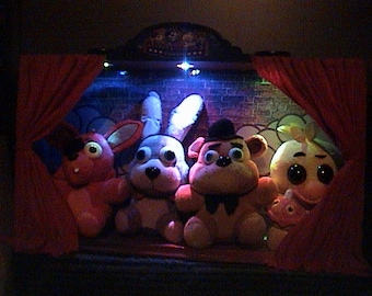 fnaf light up STAGE + 12'' PLUSHIES - COLOR changing lights - five nights at freddy's -