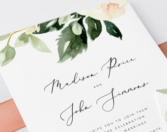 Blush Floral Wedding Invitation Template Pink Flowers Wedding Invitation Printable Wedding Invites Editable on Templett Modern