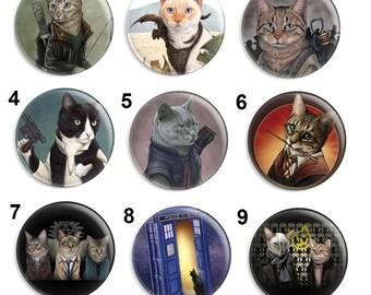 Needle Minder, Cat Needle Keeper, Licensed Art, Jenny Parks, Tardis Minder, Cat Art, Cross Stitch Keeper, Fridge Magnet, Stitch Accessories