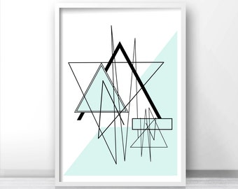 Instant Download Printable Art, Modern Wall Art Printable, Abstract Art Print, Digital Download Geometric Art, Mint Decor, Abstract Print