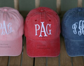 Ladies' Monogrammed Baseball Cap-Fishtail Monogram-Monogrammed Ballcap-Bridesmaids gift-Preppy Ballcap-Sorority  cap- Ladies' gift Idea