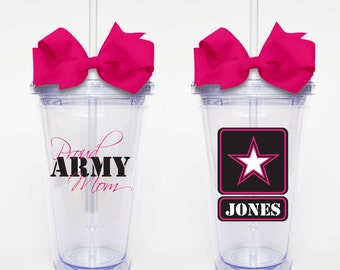 Proud Army Mom - Acrylic Tumbler Personalized Cup