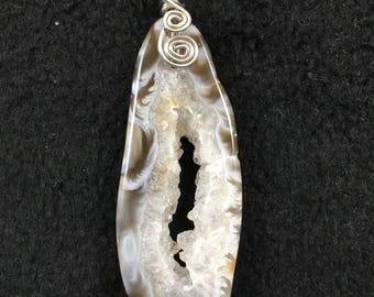 Agate Geode slice with Crystal center