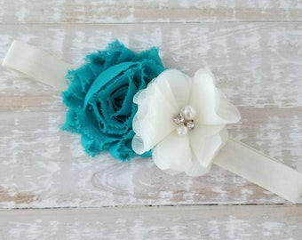 Teal and Ivory Baby Headband - Newborn Headband - Baby Girl Headband - Teal Baby Headband - Infant Headband - Flower Girl Headband