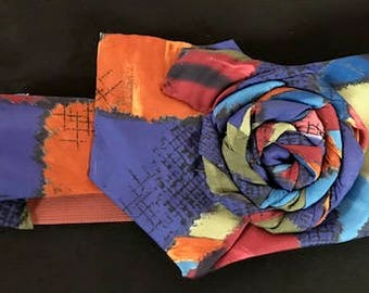 Hand sewn headband made from a  repurposed necktie