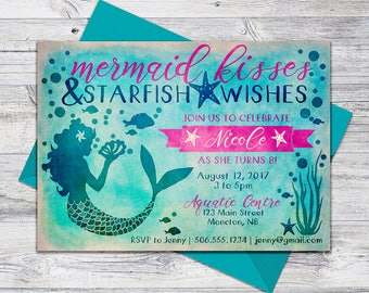 Printable Mermaid Invitation Birthday, Beach Party Invite, Mermaid Wishes, 5x7 Digital File