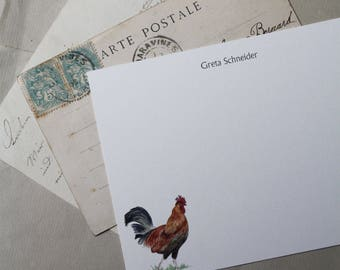 NEW! Rooster Farm Bird Chicken Custom Notecard Stationery. Thank You, Any Occasion, Personalize Watercolor Print, Set of 10.