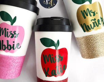 Teacher Travel Mug; Teacher Coffee Mug; Teacher Appreciation; Teacher; Apple Mug; Gift for Teacher; Teacher Gifts; Christmas Gift
