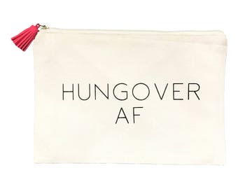 Hangover Survival Kit Canvas Bag with Suede Tassel Hungover AF Bachelorette Party Favors