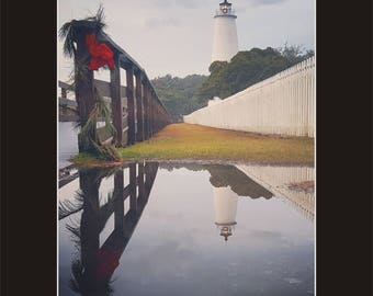 Ocracoke Island Lighthouse during the Holidays Photographic Print matted in black North Carolina