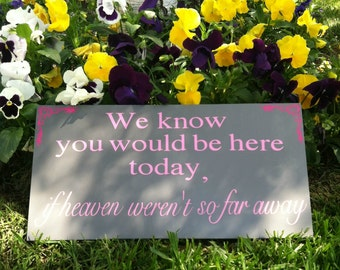 In Loving Memory Sign We Know You Would Be Here Today If Heaven Weren't So Far Away Sign Wedding Sign Personalized Signs