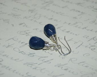 Navy Blue  Quartzite Stone Artistic  Wire Wrap Earrings .