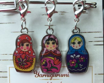 Crochet stitch markers, knitting stitch markers, Matryoshka doll stitch markers, Russian doll stitch markers, nesting dolls, progress keeper