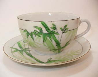 Occupied Japan Vintage Bamboo Teacup & Saucer