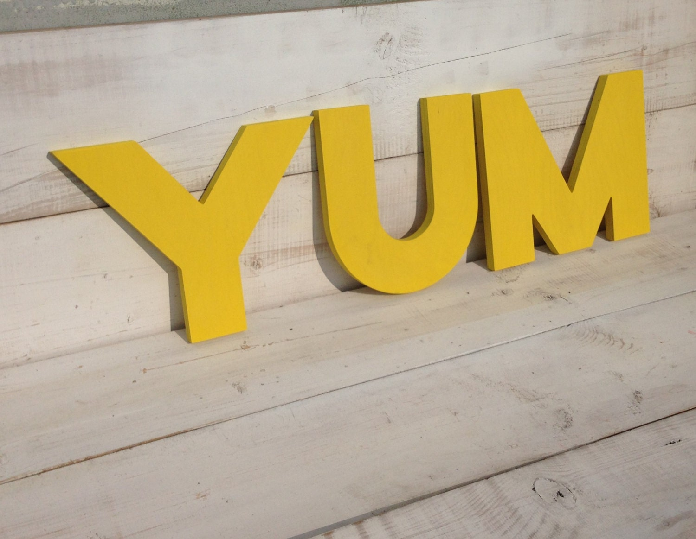 YUM signYum kitchen sign wood sign eat vintage decor-big