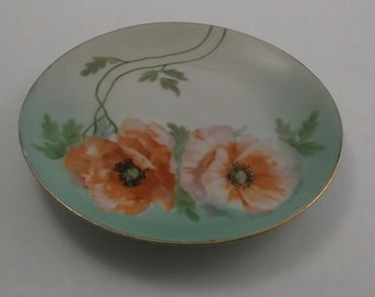 Vintage Hand Painted Plate, Small China Plate with Coral Poppies, Bavaria