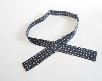 Mid Century Blue Silk Patterned Bow Tie