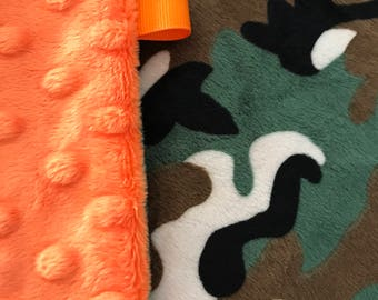 Minky Lovey Blanket, Security Blanket Camo Print Minky with Orange Dimple Dot Minky Backing - great for a new baby