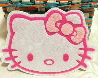 Kitty face felt cup coaster - diy selfmade fun craft