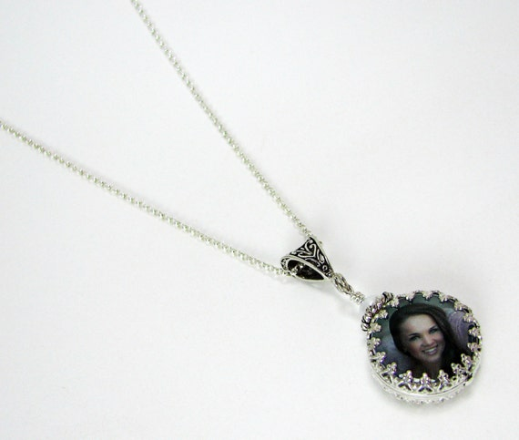 Custom Photo Pendant Wrapped in a Sterling Frame - WC6CfN