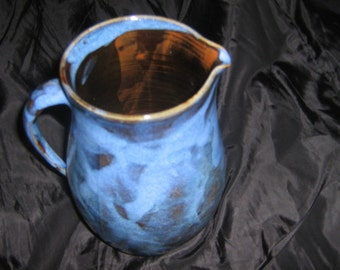 Pitcher - water - blue stoneware Creamer