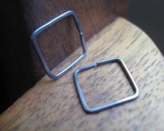 mens earrings. guys hoop earings. hypoallergenic jewelry. square hoops.
