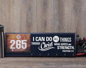 Running medal holder & race bib hanger with Bible verse Philippians 4:13 - I can do all things through Christ