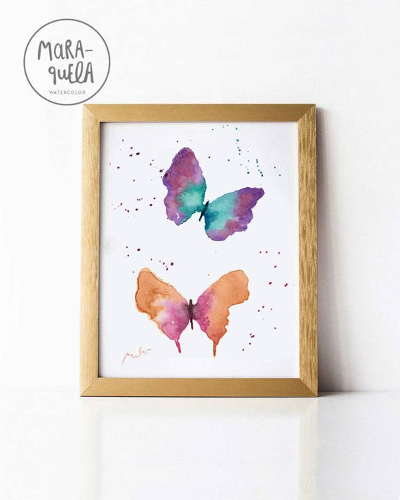 ORIGINAL Butterflies Watercolor - Romantic decoration , Art decor, handmade, watercolor, painting, butterfly, gift, ideas , for woman, love
