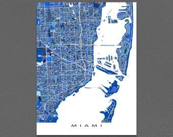 Miami Print, Miami Map Art, City Street Map, Miami Florida