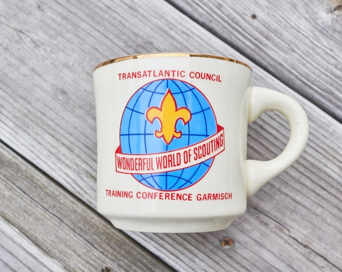 Vintage Boy Scout coffee mug from the Trans Atlantic Council Taining Conference Garmisch