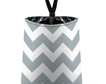 Car Trash Bag // Auto Trash Bag // Car Accessories // Car Litter Bag // Car Garbage Bag - Chevron - Light Gray and White