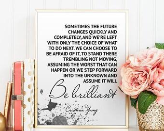 Greys Anatomy Inspiring Wall Art Grey's Anatomy Quote Poster Meredith Grey Cristina Yang Motivational Quotes Friends Gift Digital Art Print