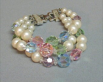 Triple Strand Faux Pearl and Pastel Crystal Bracelet
