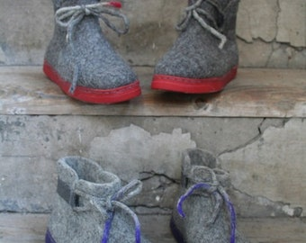 Felted Boots Womens boots Gray Red Purple Green Orange Winter Boots Outdoor boots Narrow/ Medium Feet
