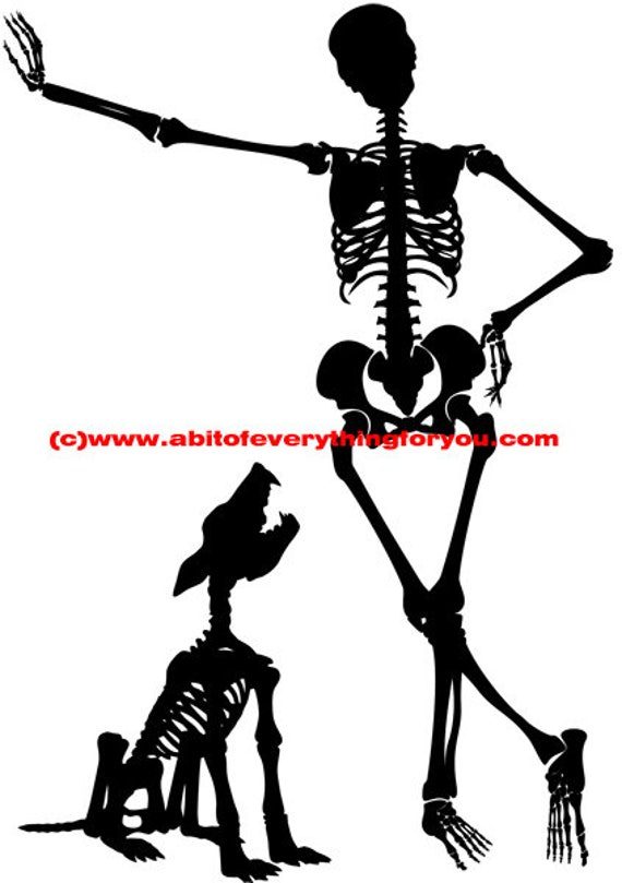 man and dog skeleton skull silhouette printable art clipart png jpg download digital image graphics goth black and white artwork
