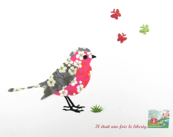 Applique fusible bird Robin fabric liberty Mitsi gray and hot pink + flex glitter patch iron on patches iron on bird robin