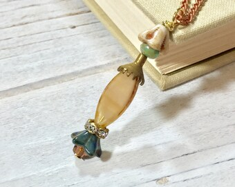 Bohemian Charm Necklace, Czech Glass Flower Necklace, Earthy Tones Flower Necklace, Beaded Glass Pendant, Layering Necklace, KreatedbyKelly