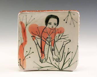 A Ceramic Square Plate by Jenny Mendes - In The Garden