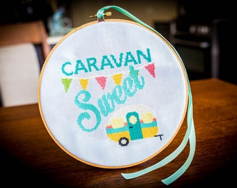 Retro Caravan Cross Stitch Pattern - Digital PDF Downloadable Pattern