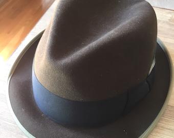 Vintage Mallory Cravenette Processed Mens Fedora Hat 7 1/4