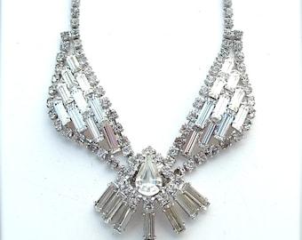 Rhinestone Collar Bib Statement Necklace Formal Wedding Bridal Jewelry