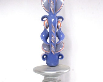 Gift candle - havdala -Blue- Taper Candles - From Jerusalem- Special Gift  - Pastel collection 6A