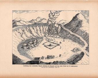 1900 VOLCANO CRATER print original antique lithograph