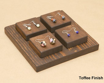 Wooden Jewelry Display Riser For Ring Earring Bracelet / R006